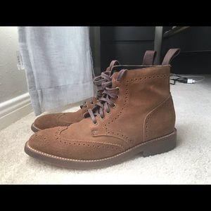 Thursday Boots Cognac Suede Wingtip Boots
